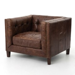 Leather Couch And Chair Eames Outdoor Abbott Vintage Cigar Tufted Club Zin Home