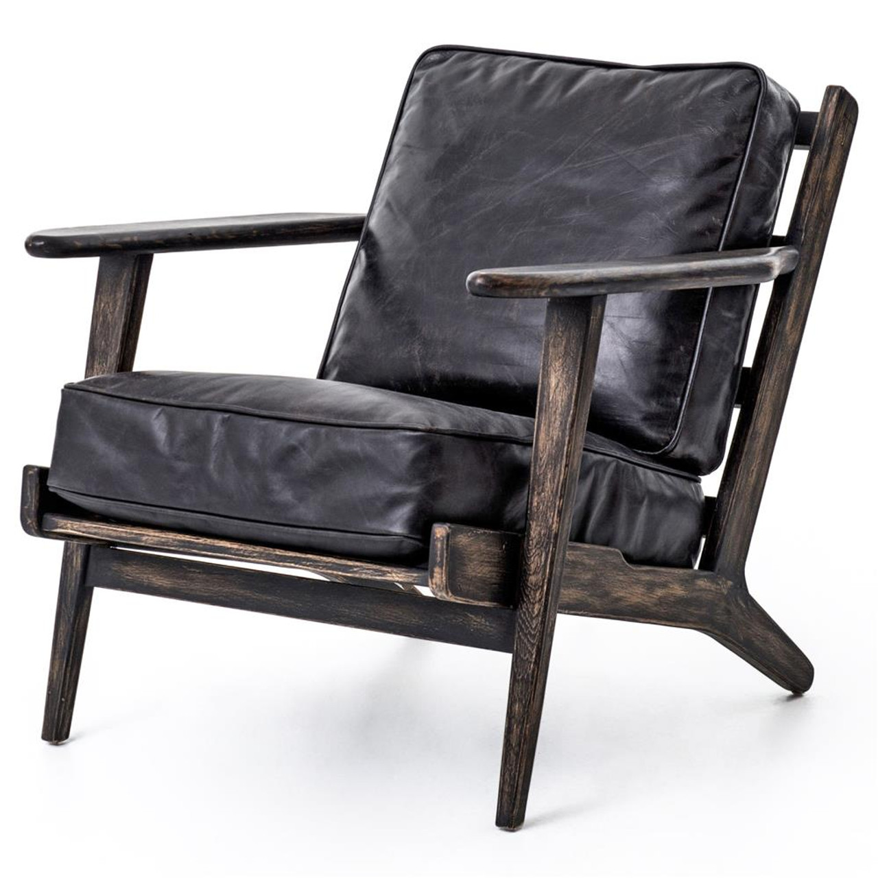 Leather And Wood Chair Mid Century Modern Brooks Leather Lounge Chair
