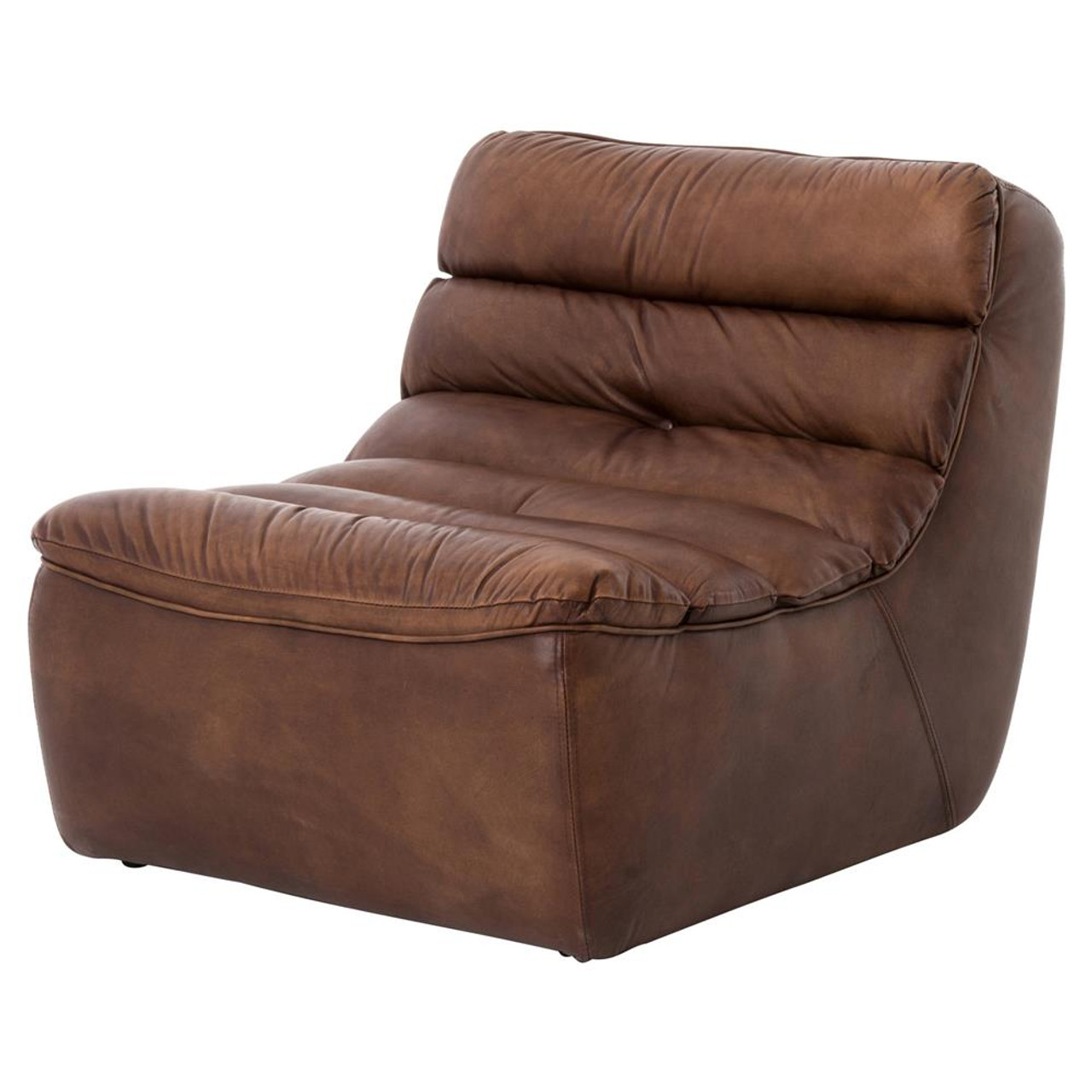Armless Lounge Chair Magna Antique Whiskey Leather Armless Chair
