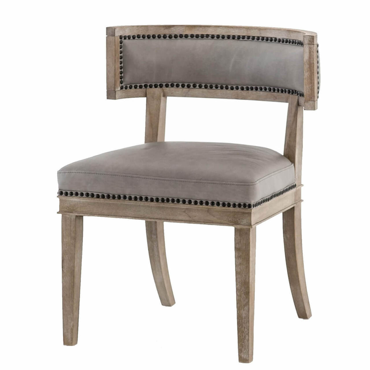 Curved Back Chair Carter Curved Grey Leather Dining Chair
