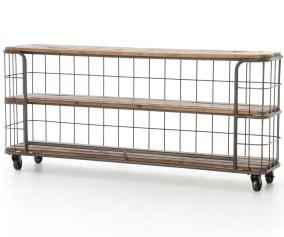 Industrial Rustic Black Metal Wood Baker Console Table On Wheels Zin Home