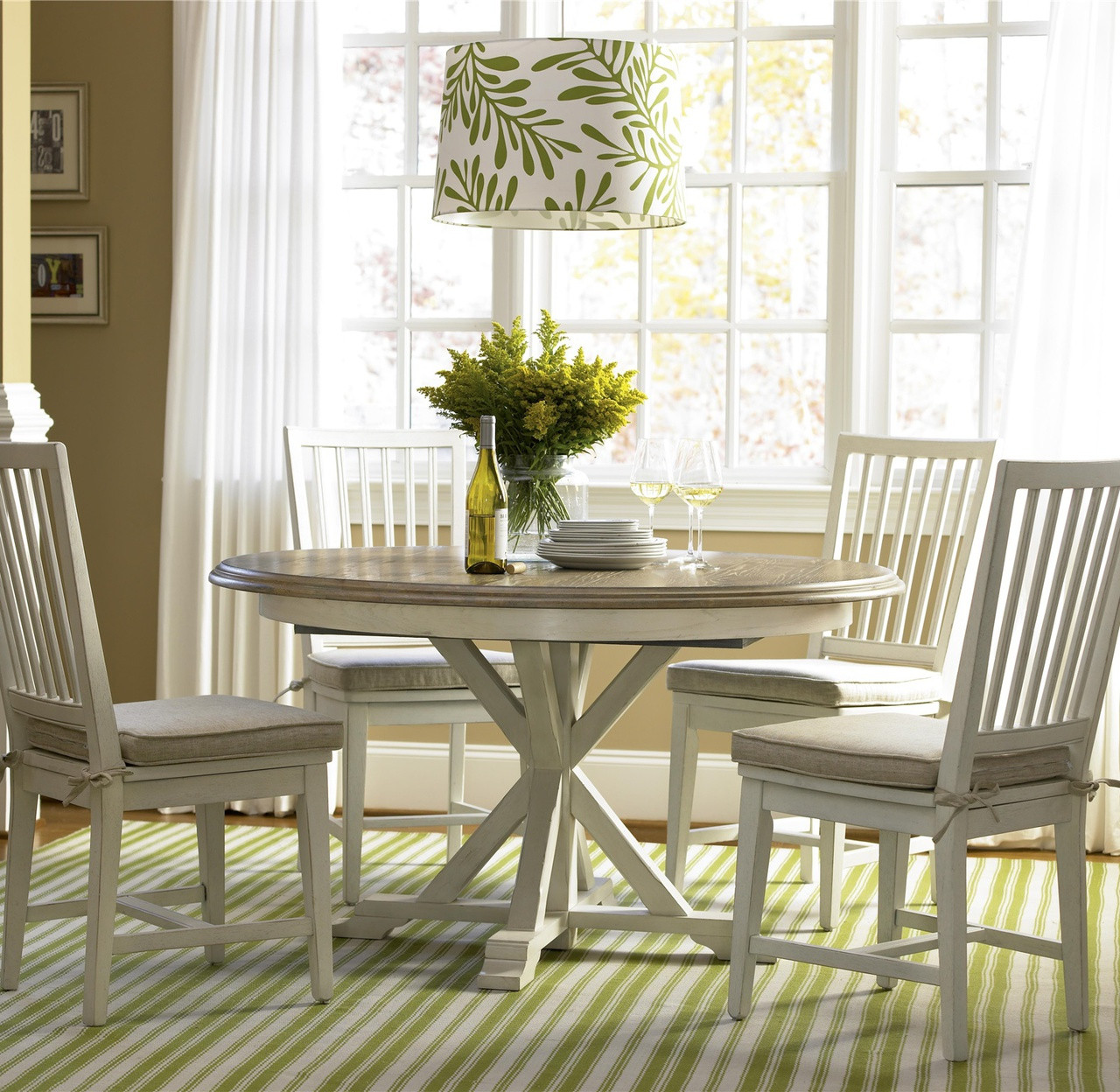 White Dining Room Chair Coastal Beach White Oak Round Dining Room Set