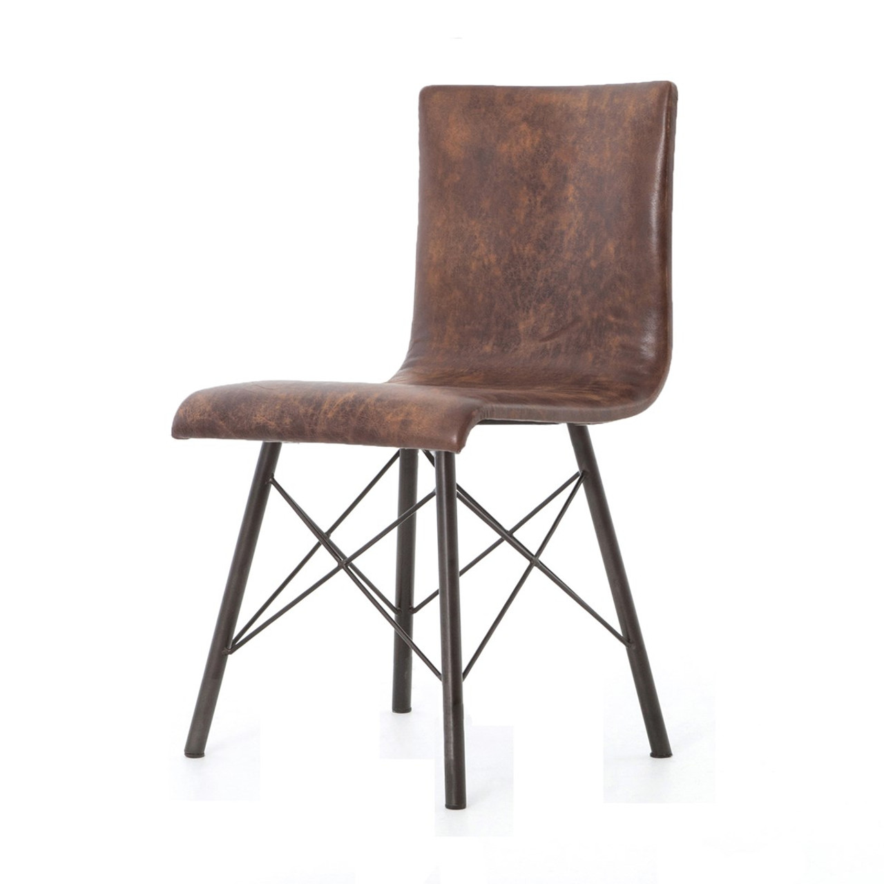 leather dining chairs modern bistro diaw distressed brown chair zin home mid century