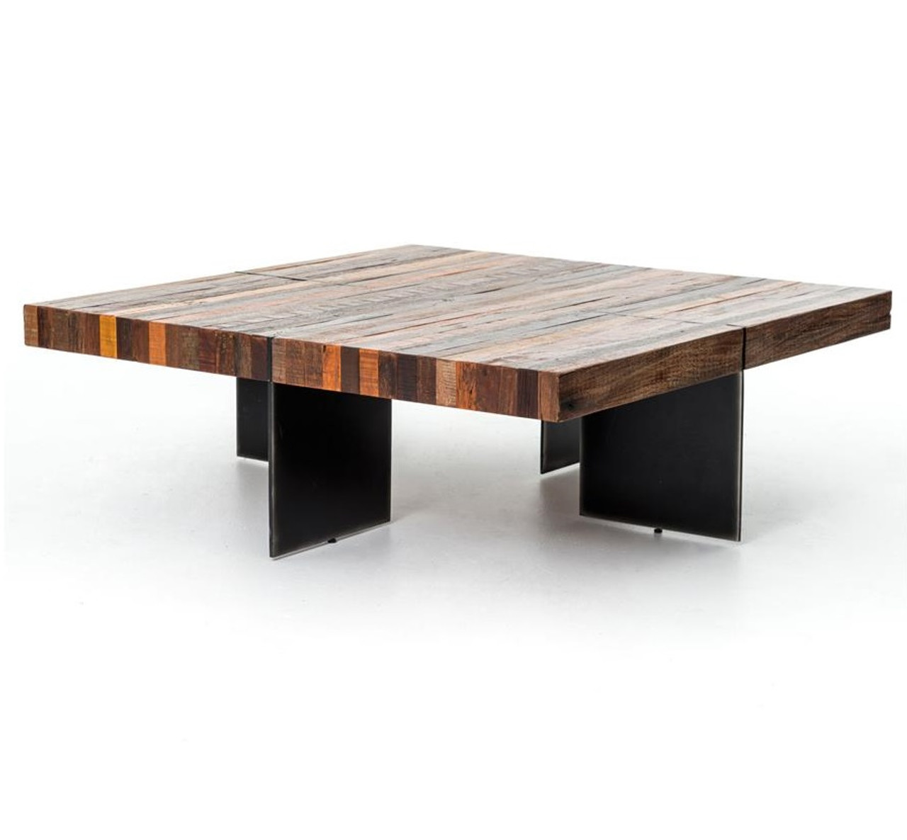 alec industrial rustic square coffee table