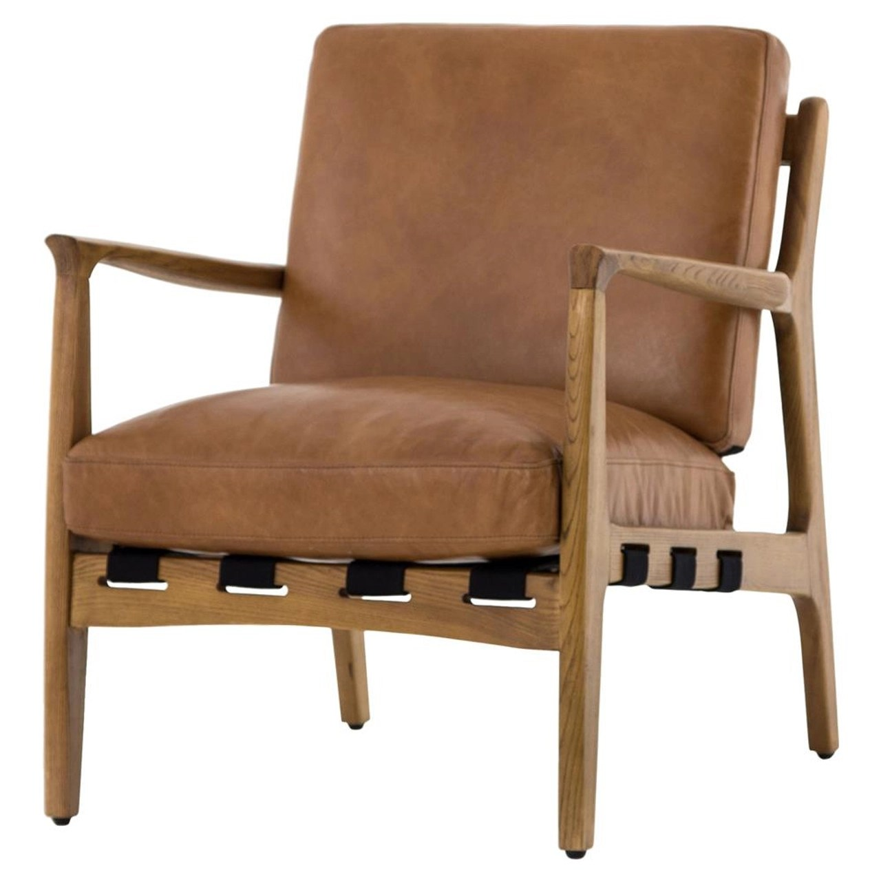 Silas Mid Century Modern Tan Leather Arm Chairs Zin Home