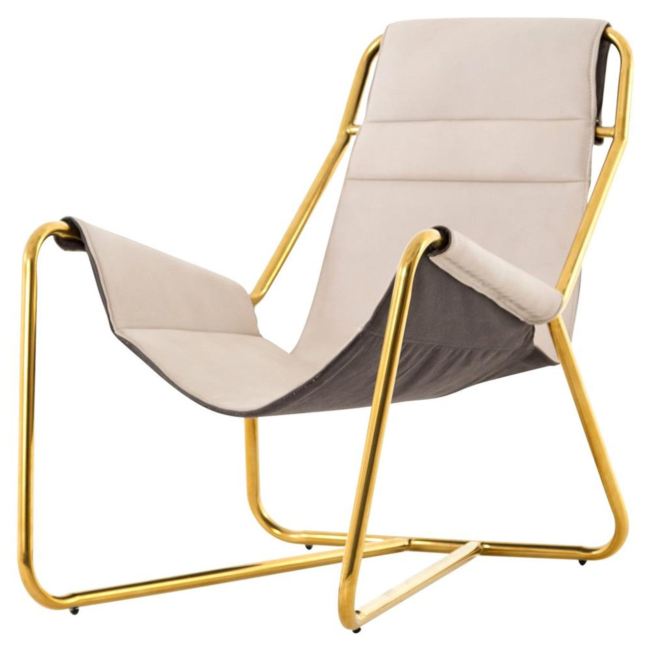 Chair Slings Vera Mid Century Ivory Leather Lounge Chair Gold