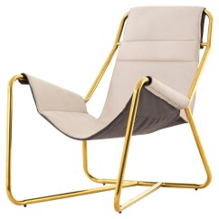 Steel Chair Gold Fold Up Computer Vera Mid Century Ivory Leather Lounge Zin Home