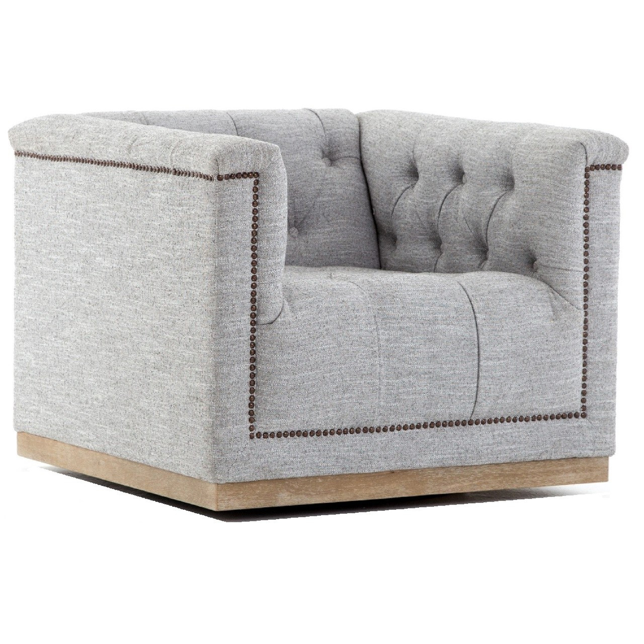 swivel club chair ergonomic reading maxx grey fabric upholstered tufted zin home