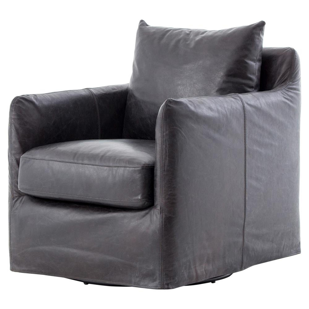 swivel club chair ergonomic with no wheels banks slipcovered black leather zin home