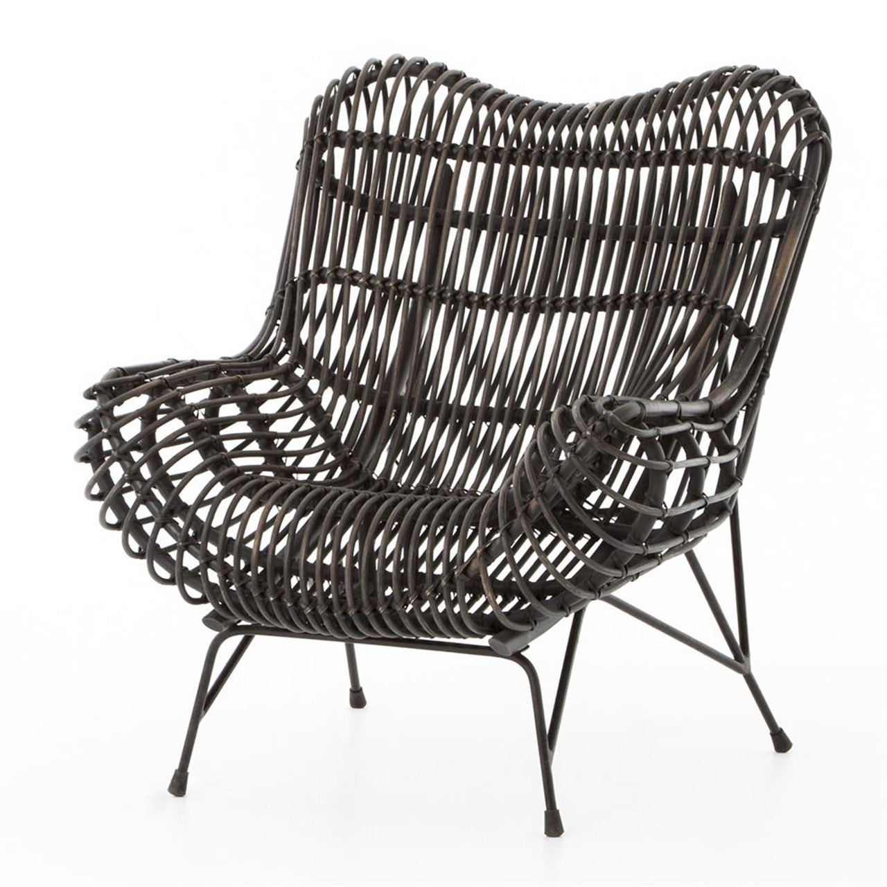Rattan Accent Chair Coastal Black Iron And Woven Wicker Accent Chair