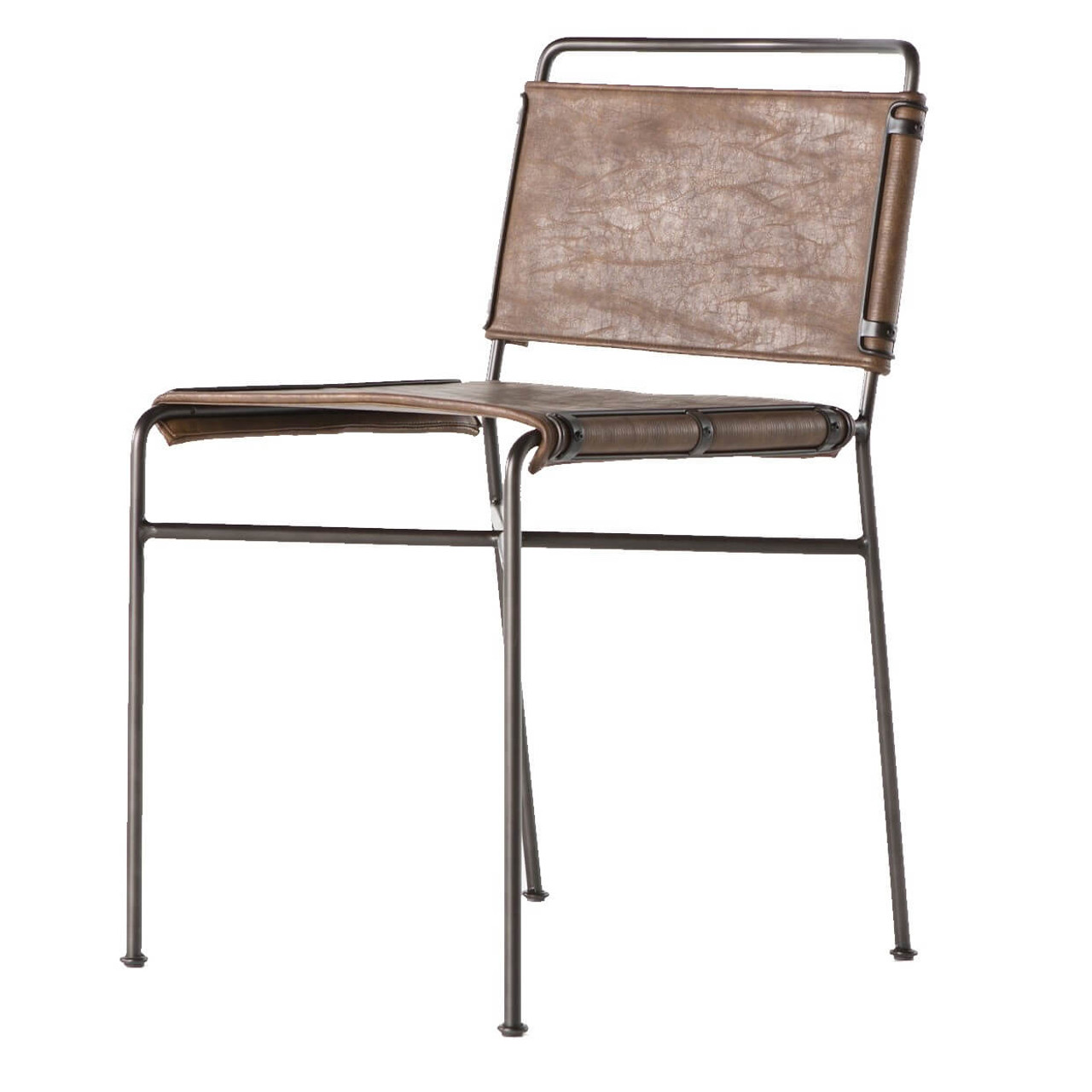 distressed dining chairs small apartment size table and oxford brown leather steel tube chair zin home