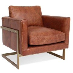 Modern Leather Accent Chairs Outdoor Christmas Chair Covers London Cognac Club Zin Home