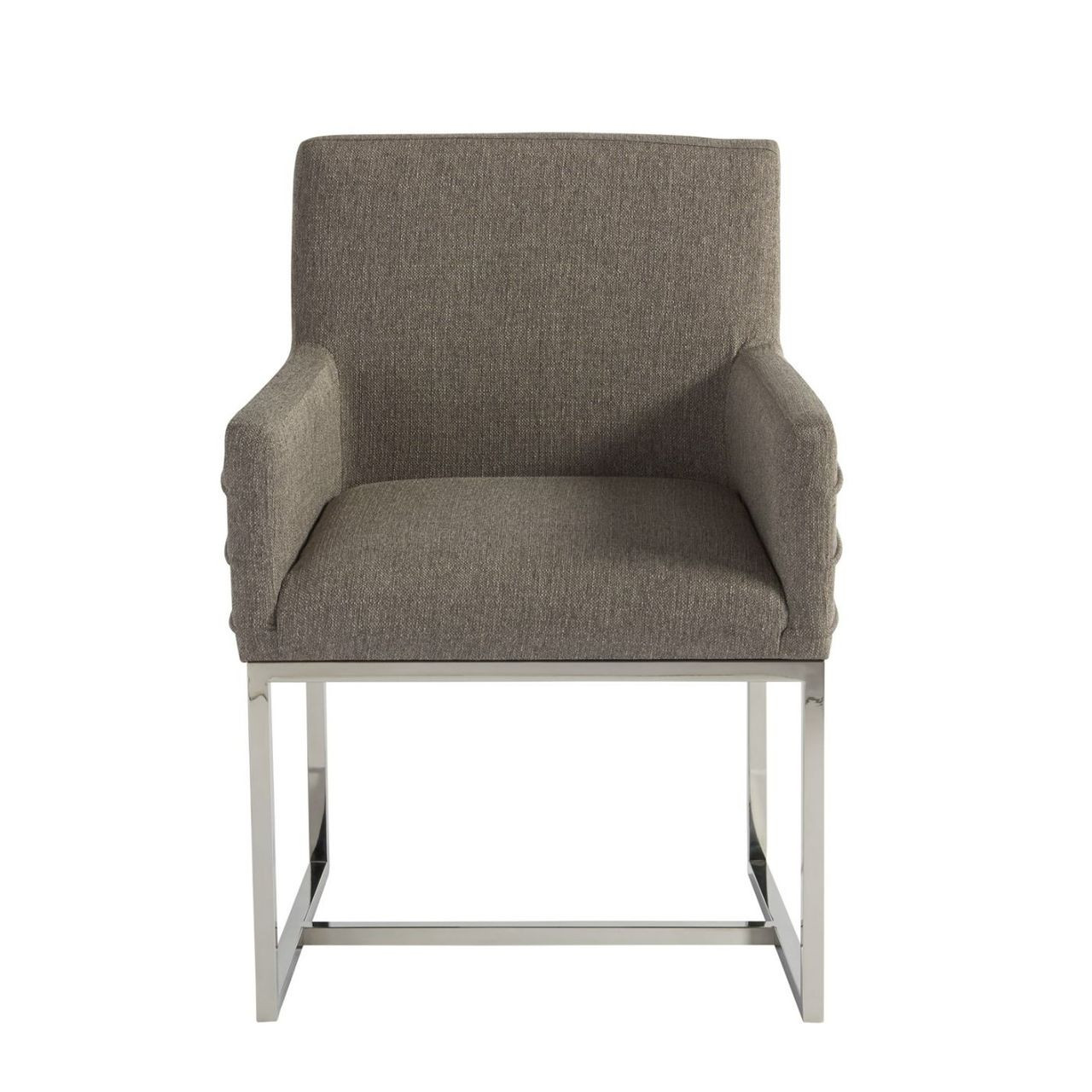 Upholstered Arm Chairs Coastal Zephyr Grey Chrome Leg Upholstered Arm Chair