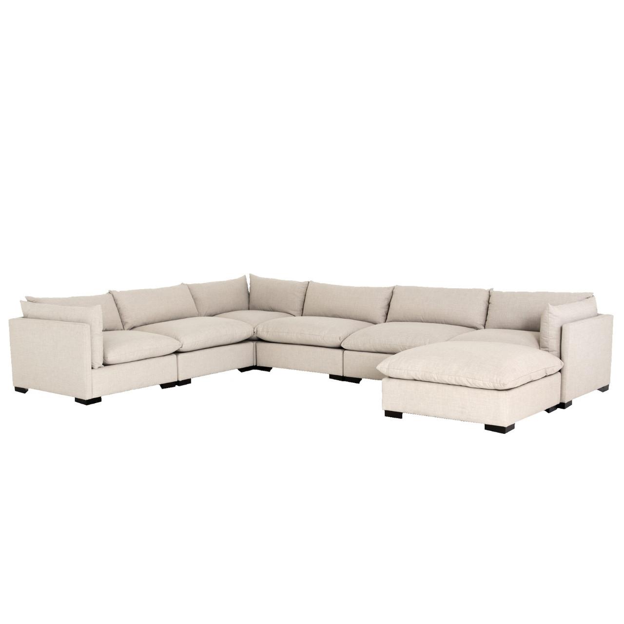 westworld modern beige 7 piece l shape sectional sofa 156
