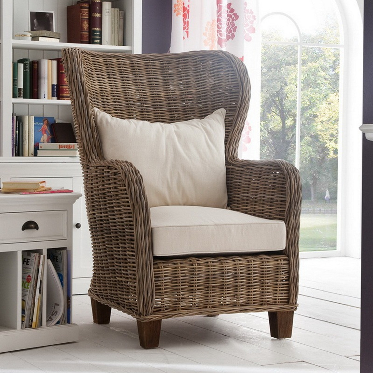 rattan wingback chairs white desk chair with no wheels garry coastal accent zin home
