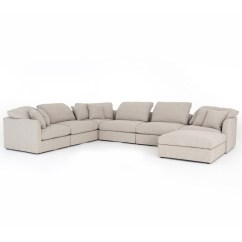 U Sofa Italian Leather Nj Ingrid Natural Upholstered 7 Pc Modular Sectional Zin Home