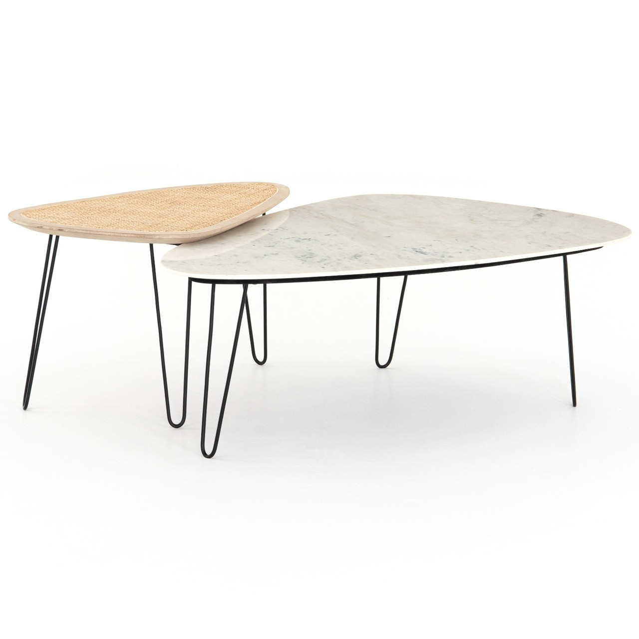 coastal industrial woven wicker marble coffee tables