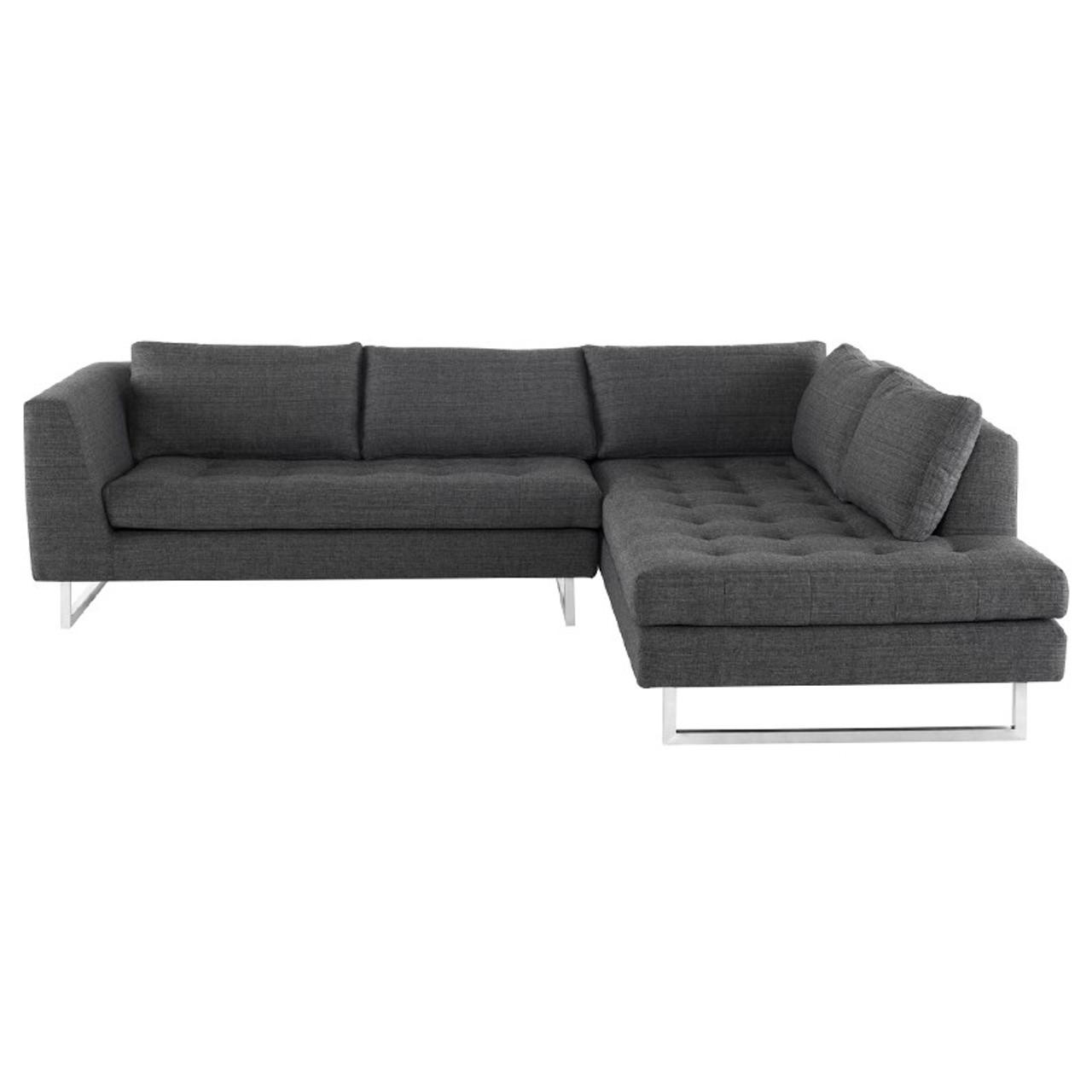 janis dark grey fabric tufted sectional sofa 105