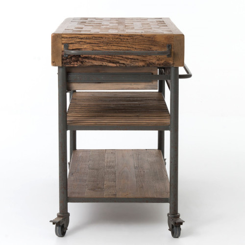 kitchen island carts digital thermometer industrial reclaimed wood cart on wheels zin home and islands