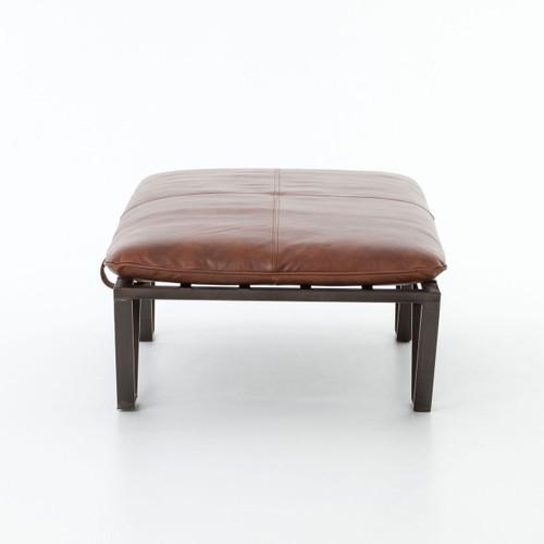 darrow tan leather ottoman with geometric metal legs