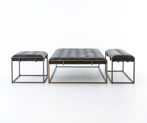 oxford tufted black leather ottoman coffee table