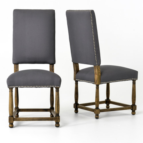high back dining chair eames leather and ottoman black spanish grey cotton upholstered zin home chairs