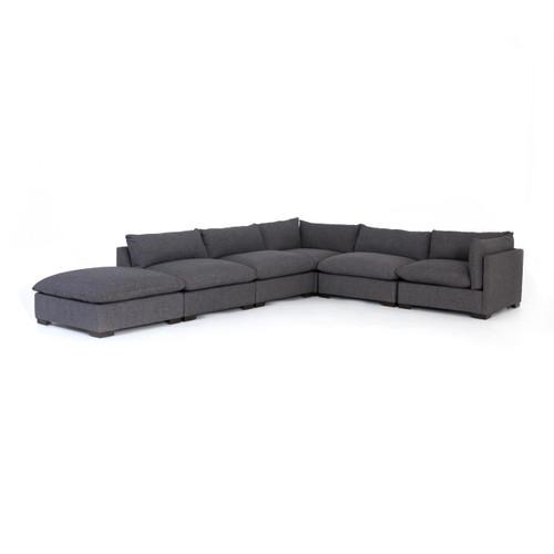 6 piece modular sectional sofa polaris white top grain italian leather westworld modern gray 158 zin home