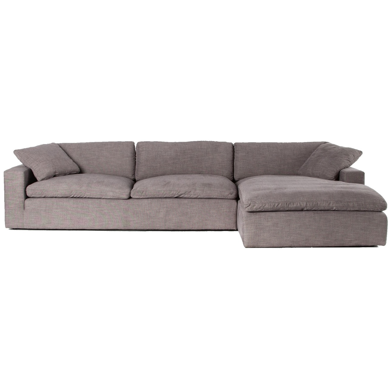 plume grey upholstered block arm raf 2 piece sectional sofa 106