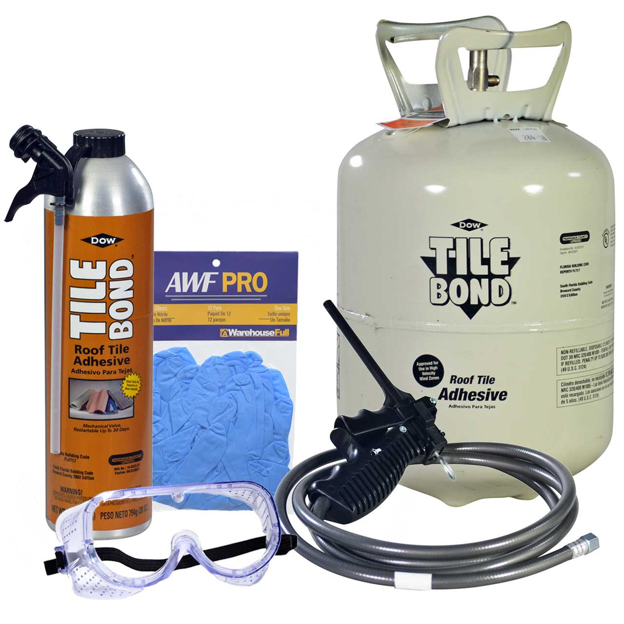 dow tile bond roof tile adhesive single part polyurethane 23 lb kit 28 oz can gloves and goggles