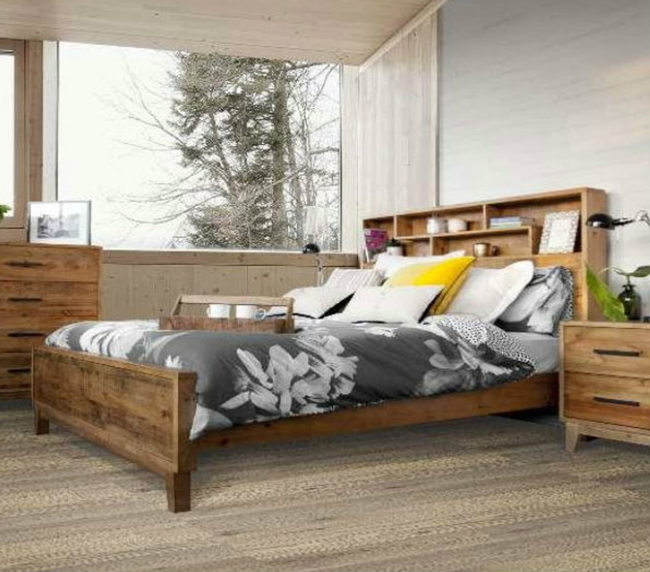 Queen Antarctica Bed With Bookcase Storage Headboard Rustic My Furniture Store Furniture And Bedding Super Store Australia