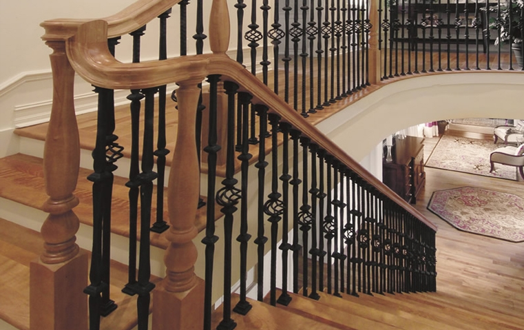 Stair Parts Wood Handrails Iron Balusters   Hardwood Handrails For Stairs   Brown   Outdoor   Stairway   Light Wood   Colour Stair Painted Stair Railing