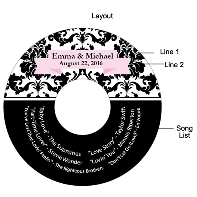 damask personalized cd labels