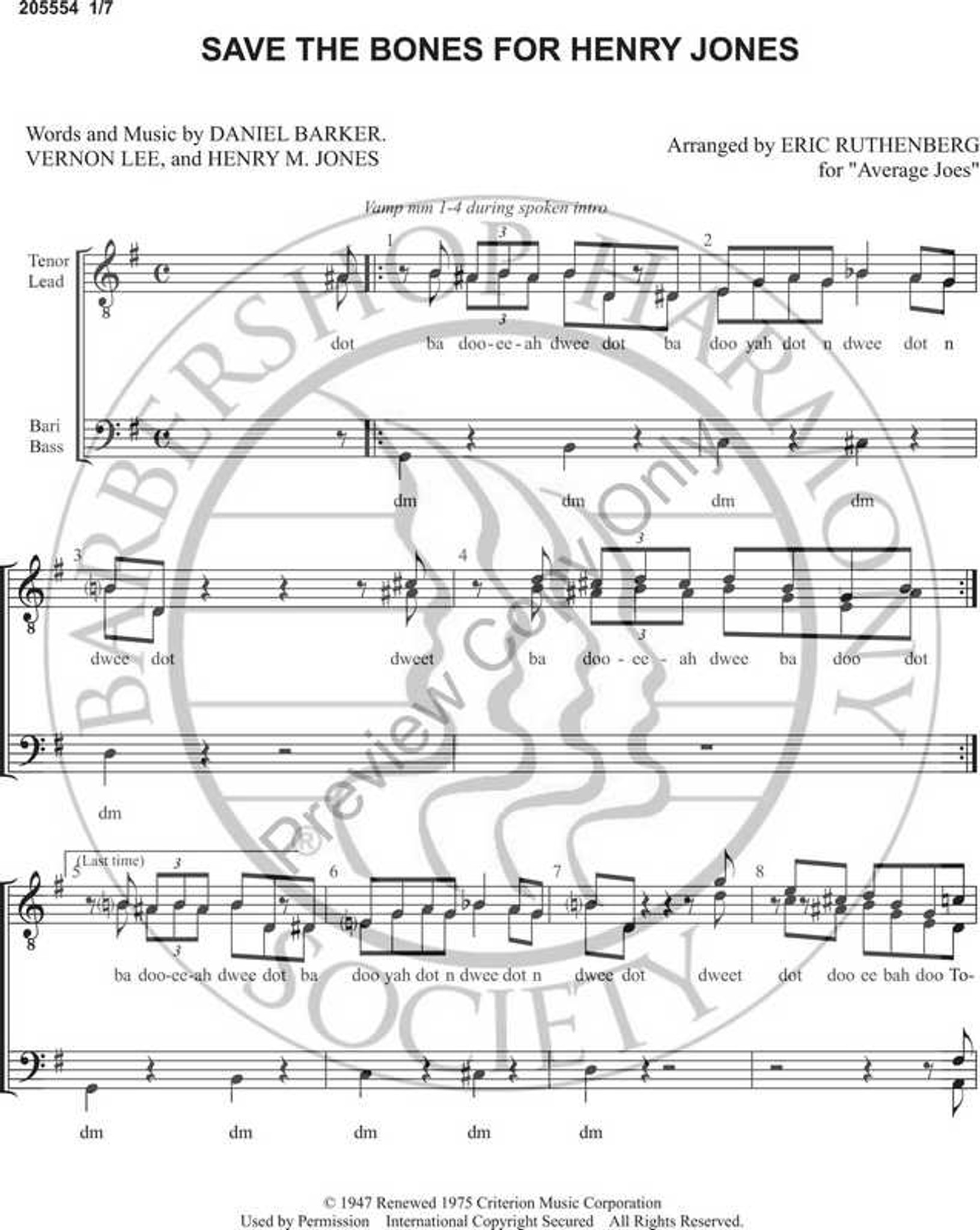 hight resolution of save the bones for henry jones 1 ttbb arr eric ruthenberg download unpub barbershop harmony society
