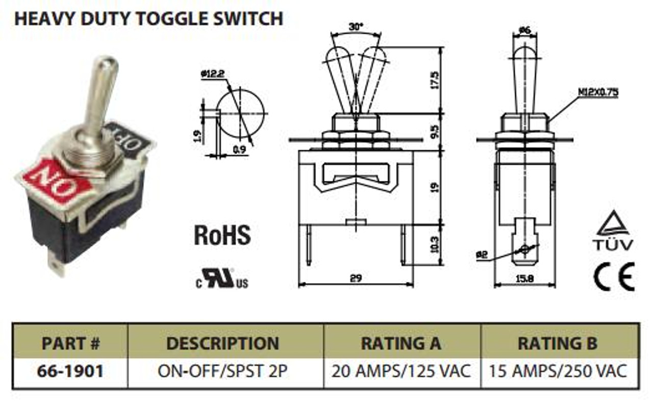 heavy duty toggle switch on off spst 2p 20a 125vac p n ces 66 1901spst 125vac switch [ 1280 x 787 Pixel ]