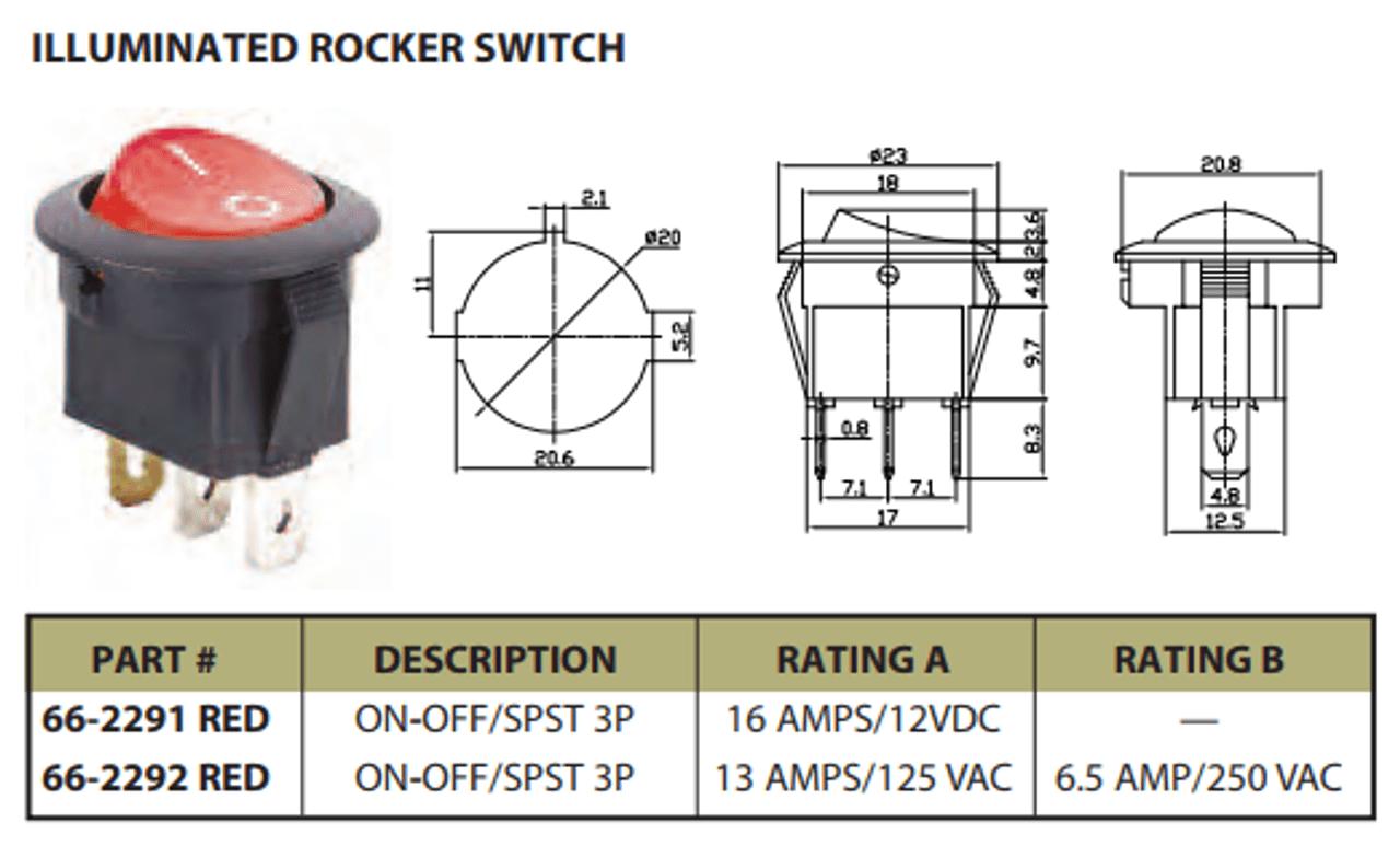 medium resolution of  ferguson tractor wiring diagram illuminated rocker switch on off spst 3p 13a 125vac ces 66