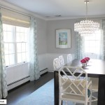 Schumacher Santa Monica Ikat Custom Drapes In Dining Room