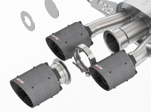 borla atak catback exhaust carbon fiber tips honda civic type r 2017 2020
