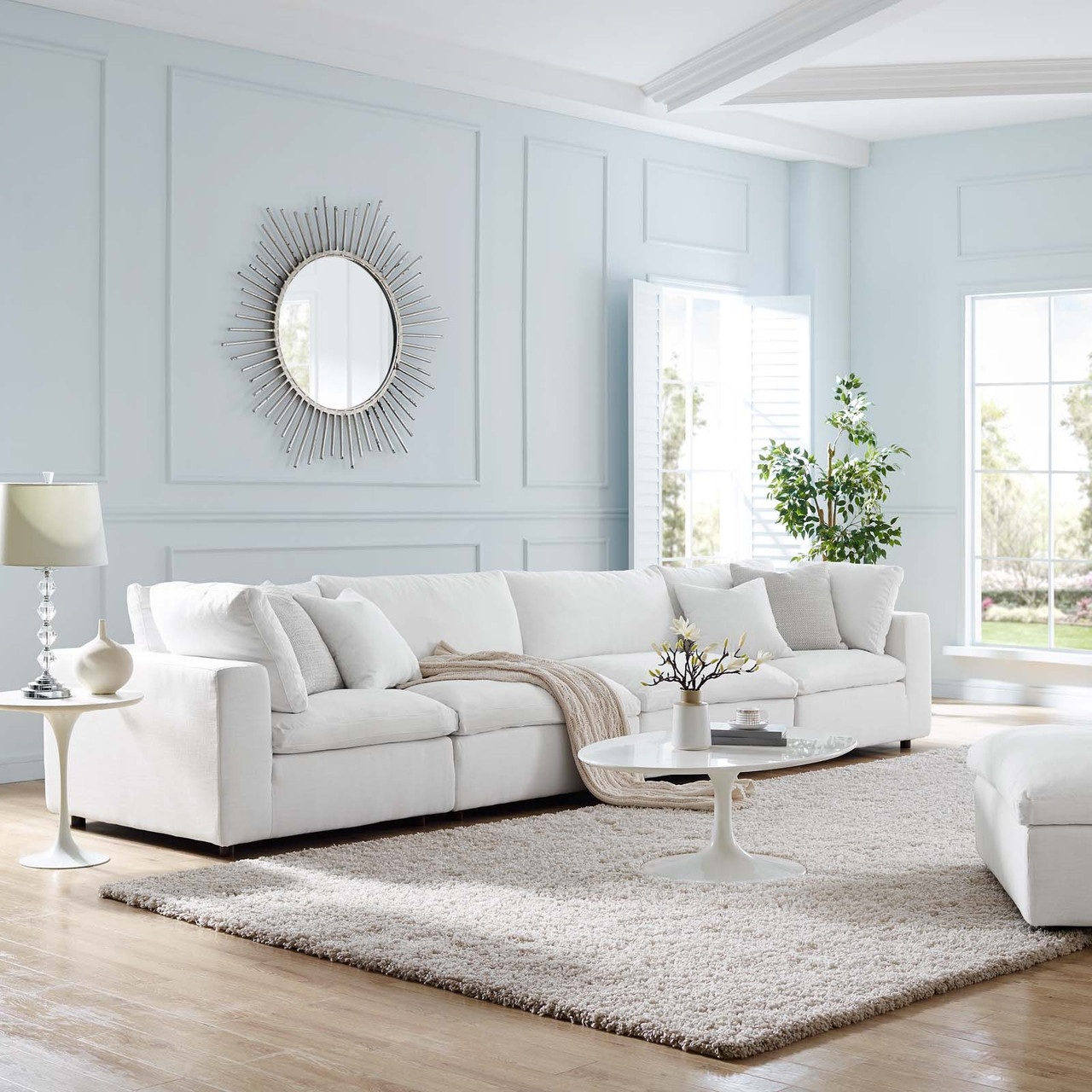 commix down filled overstuffed 4 piece sectional sofa set white eei 3357 whi