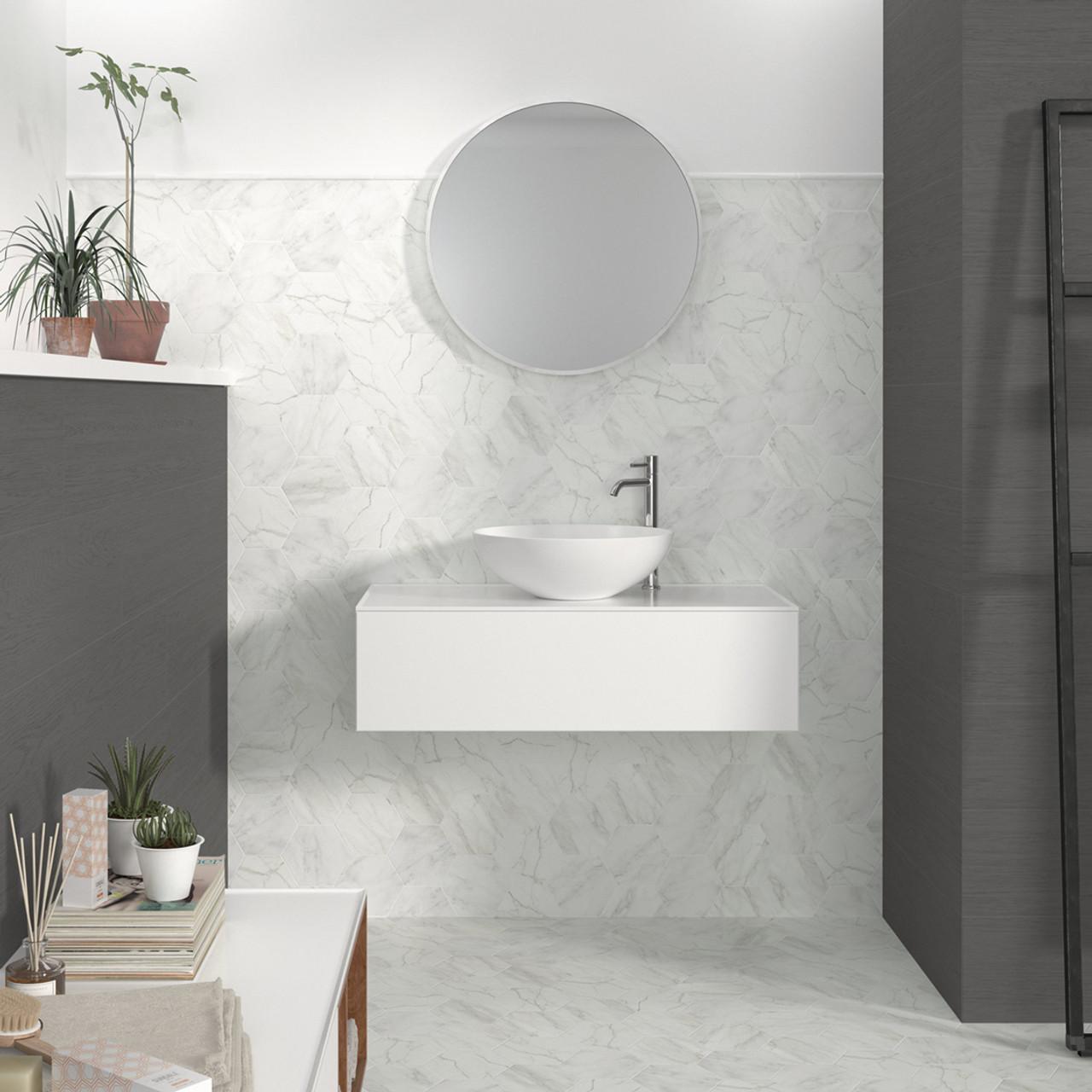 verona hexagon white porcelain 13 9cm x 16cm tile 66 sqm