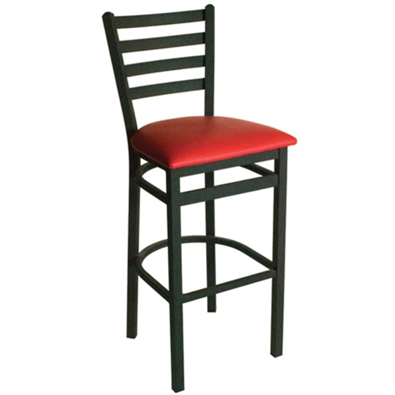Bfm Seating Lima Metal Ladder Back Restaurant Bar Stool With Padded Seat 2160b Sbv Pub Bar Stools Commercial Bar Stools