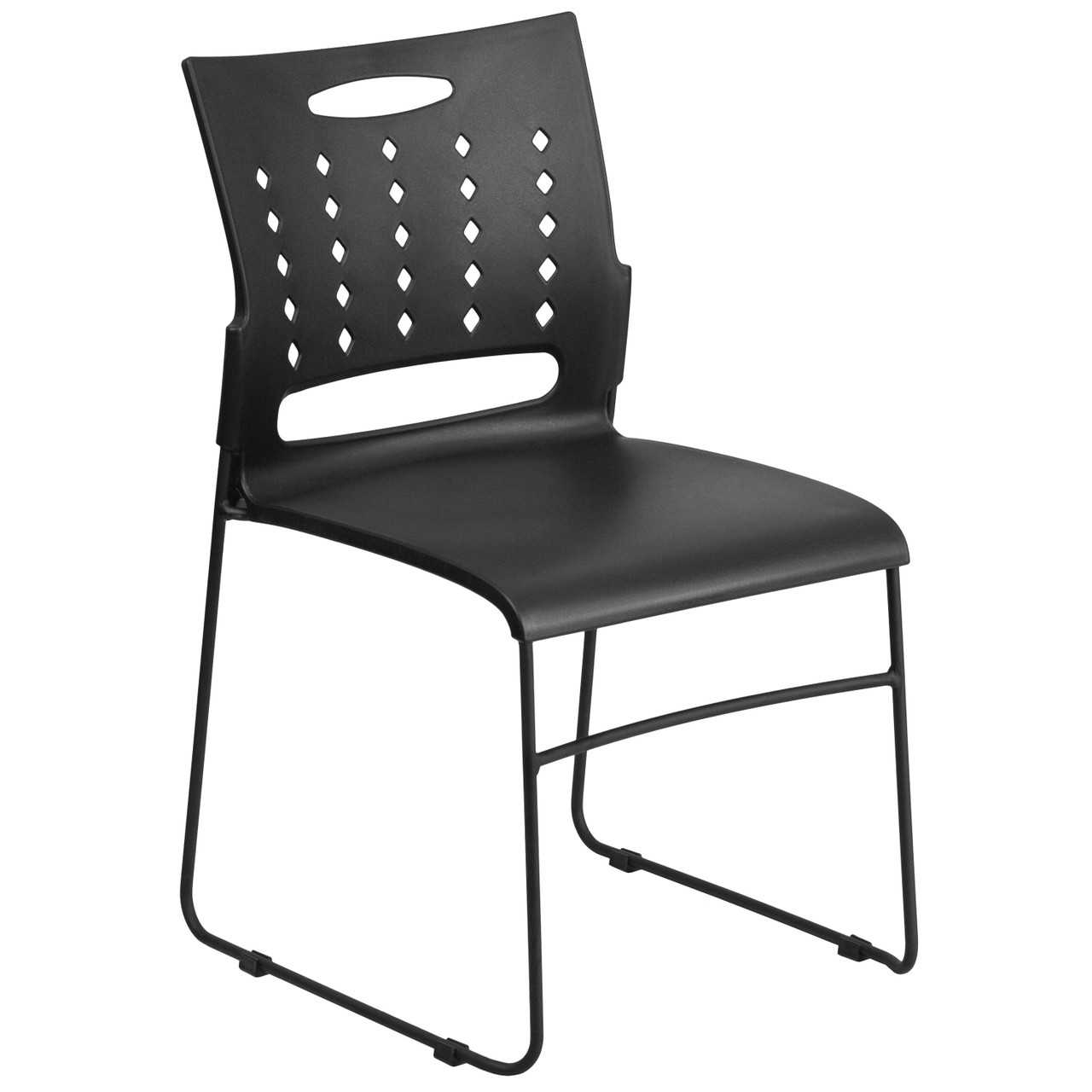 Advantage 881 Lb Capacity Black Sled Base Stack Chair With Air Vent Back Rut 2 Bk Gg