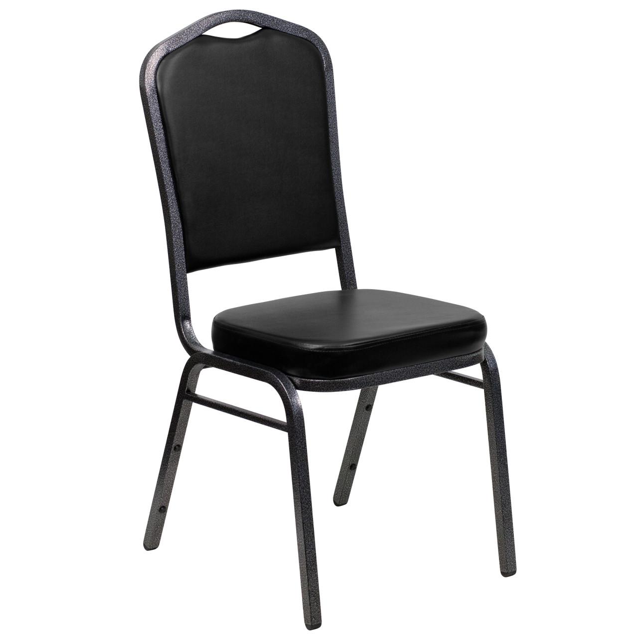 Advantage Crown Back Stacking Banquet Chair In Black Vinyl Silver Vein Frame Fd C01 Silvervein Bk Vy Gg