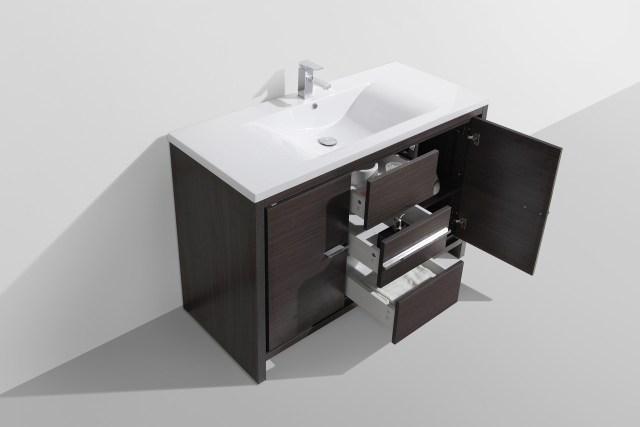 MORENO DOLCE 48″ DARK GRAY OAK MODERN BATHROOM VANITY W/ 2 ... on {keyword}