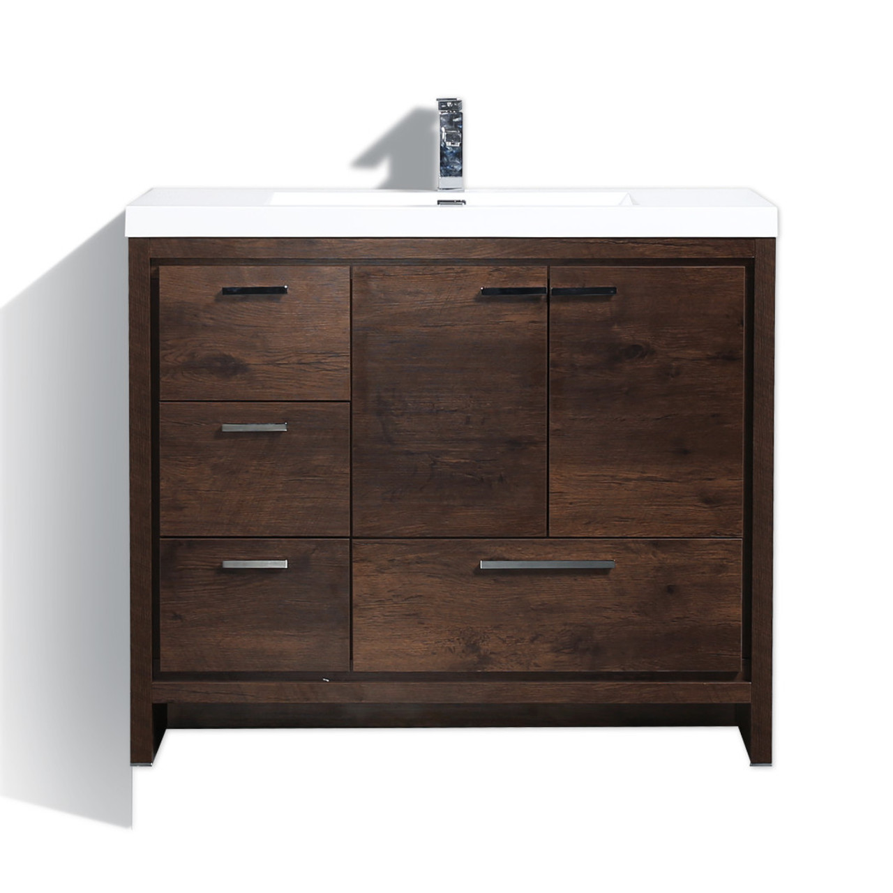 Moreno Dolce 42 Rosewood Modern Bathroom Vanity W Left Side Drawers And Acrylic Sink Bathroom Vanities Wholesale Inc