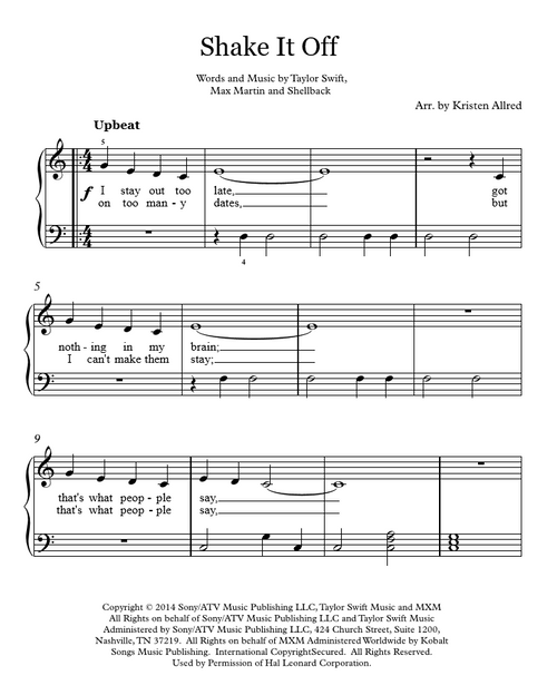 Shake It Off Taylor Swift Easy Piano Cover Sheet Music