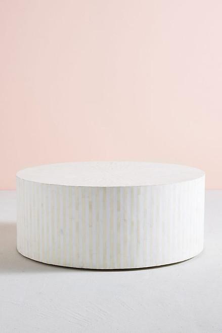 bone inlay round coffee table in stripe white