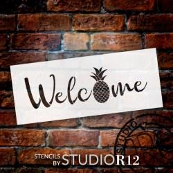 pineapple stencil welcome summer word fruit studior12