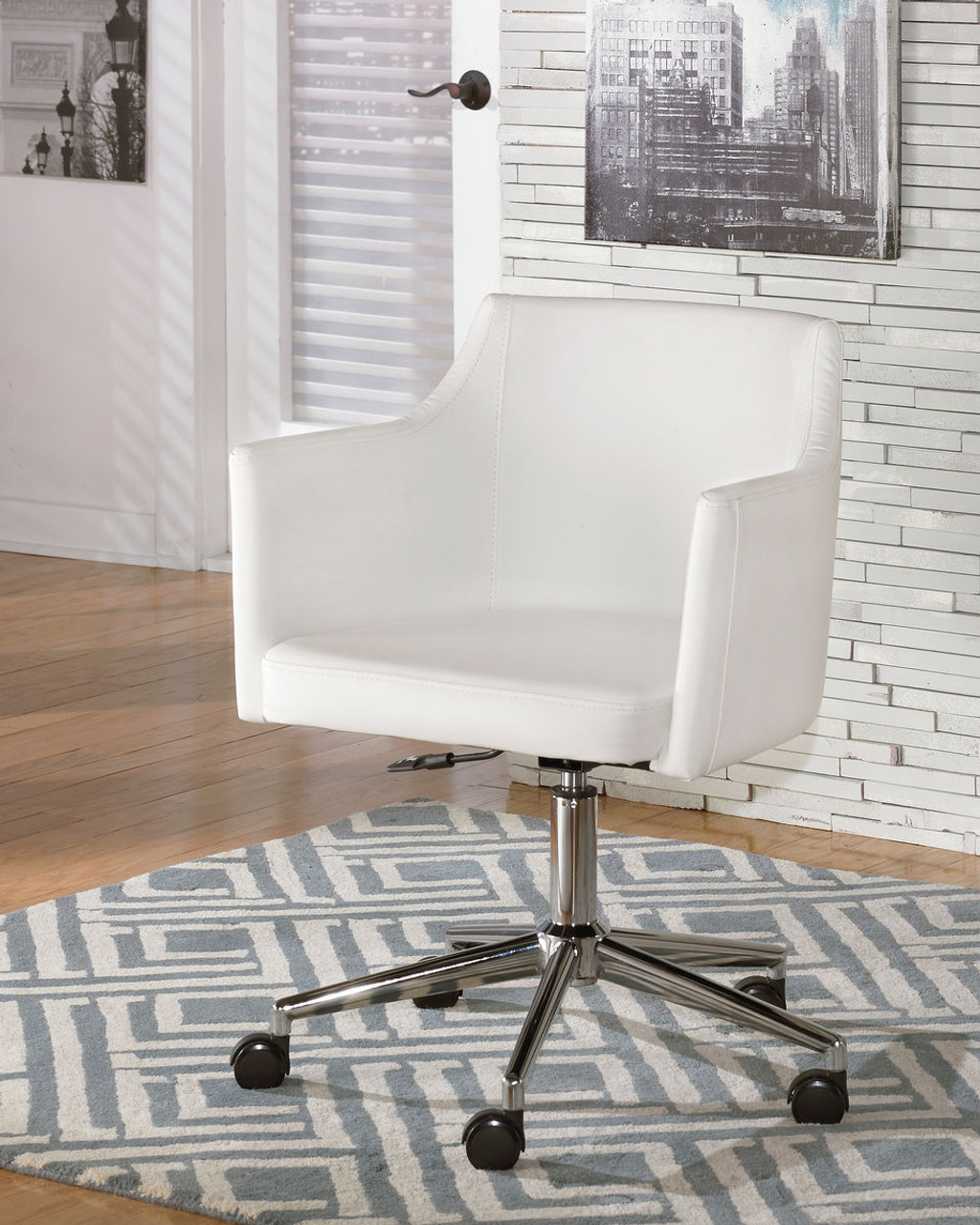 Home Office Desk Chairs Baraga White Home Office Swivel Desk Chair