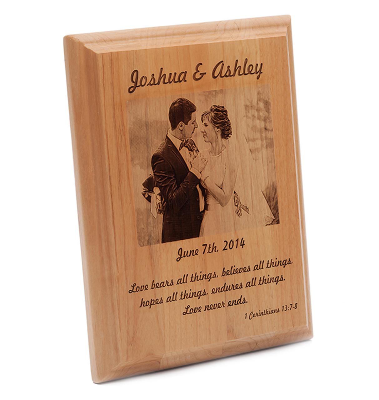engraved wedding photo plaque