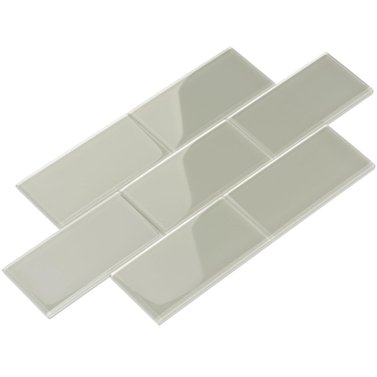 giorbello glass subway tile 3 x 6 light gray